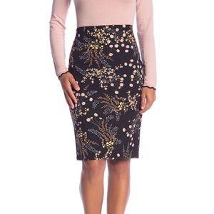 Philosophy floral vented pencil skirt black